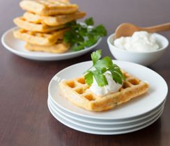 3 Onion Potato Waffles. Use spices in waffles. Not with this recipe because potatoes but good idea for savoury waffles.