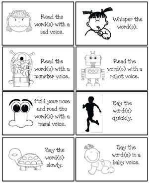 "Sight word activities: FREE ""Read the word"" voice cards. Game includes a list of Dolch words (pp-3rd). Students choose a voice card and read the word(s) using that voice. i.e a monster voice, robot voice or read it soft, loud, in a whisper etc. FREE packet includes 24 voice cards, 5 word lists, posters & links for more sight word fun."