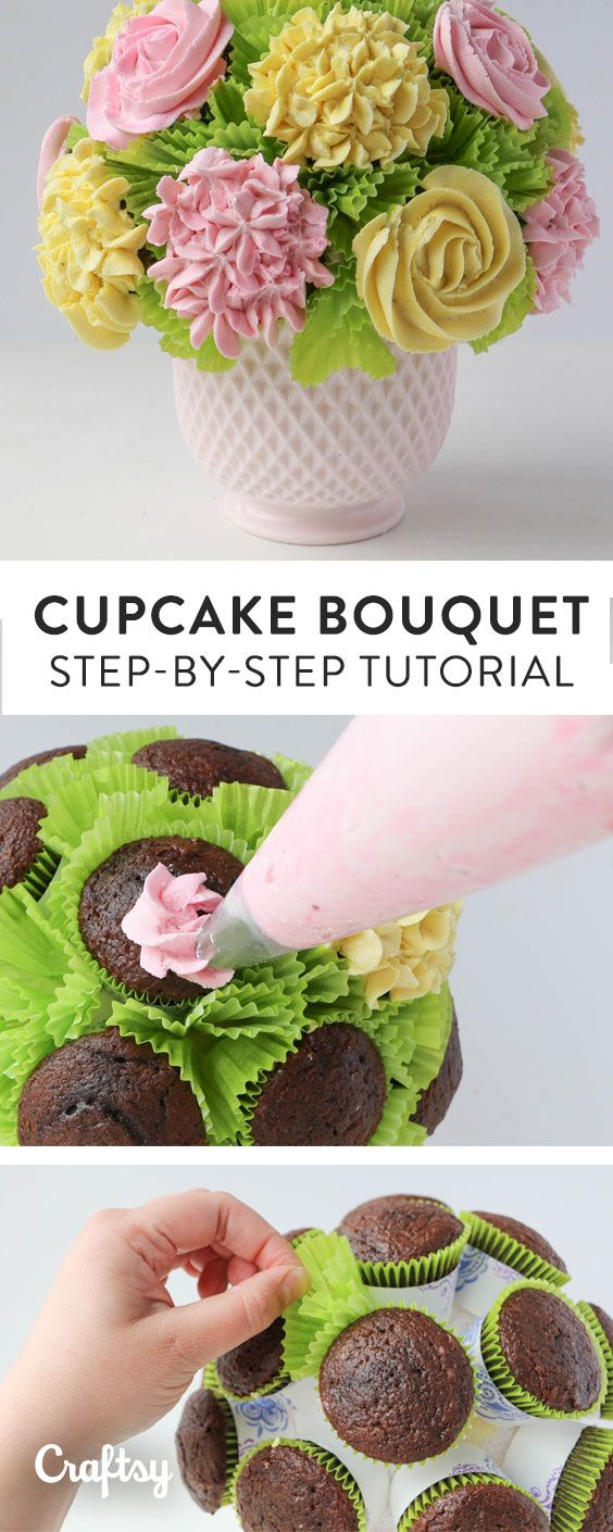 Bring the centerpiece AND the dessert! Get super simple step-by-step instructions for how to make a cupcake bouquet with roses and hydrangeas.
