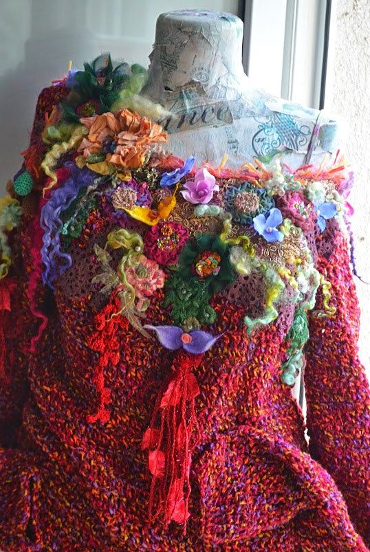Romantic Woman Knitted sweaterFairy gypsy Bohemian Art To Wear sweater Hippie Gypsy sweater altered  sweater one of a kind(RESERVED FOR A.)