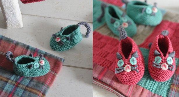 Des chaussons chat à tricoter pour bébé