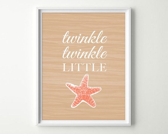 Tropical Nursery Decor Starfish Decor Twinkle by DaphneGraphics