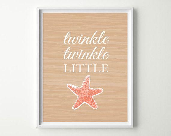 Twinkle Twinkle Little Star Decor - Tropical Nursery Decor - Starfish Decor - Under the Sea Nursery - Baby Girl Nursery - Starfish Art on Etsy, $15.00