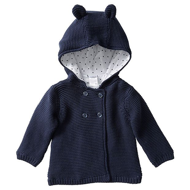 Knit Hooded Cardigan With Ears Navy Blue