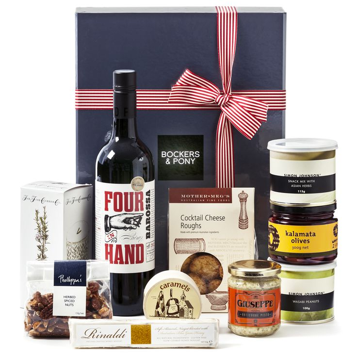 Small Talk : Bockers and Pony : Savoury Gourmet Food Hamper : Wine Gift Hamper : Simon Johnson, Australia Wide Delivery : Create 'small talk', catch up on current events and even share some information, (aka gossip) with this deluxe gourmet food and wine hamper.