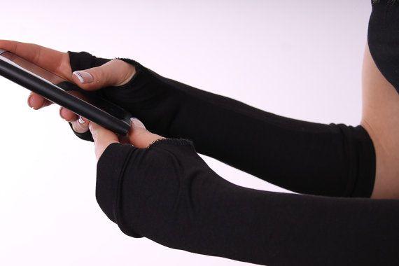 Black long fingerless gloves arm warmers mittens by danteli, $13.00