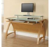 Image of the Jual Curve PC201-1300-OW Large Computer Desk in Oak and White Glass
