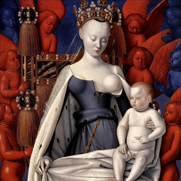 Jean Fouquet – Virgin and Child Surrounded by Angels (c. 1452)
