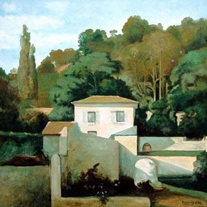 Patrice Lannoy, realistic painting, figurative, landscape, reproduction of Caruelle Aligny, paintings on canvas