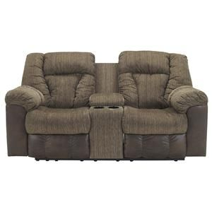 Signature Design By Ashley Troubadore Double Reclining Power Loveseat W/  Console   4390096
