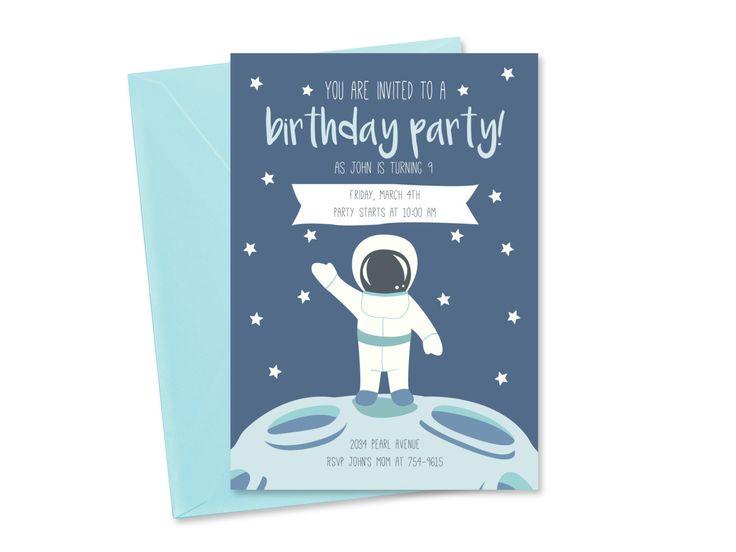 Invitation anniversaire astronaute à imprimer, Carte invitation espace personnalisée, Anniversaire garçon, Carte invitation anniversaire de la boutique KaritasDesign sur Etsy