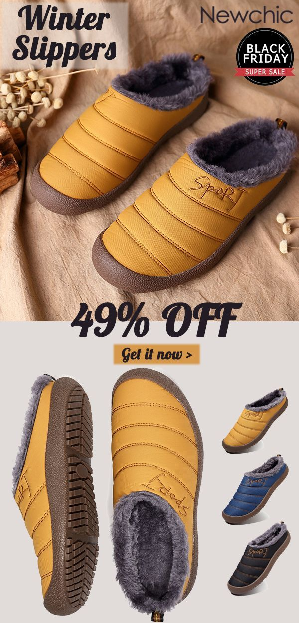5be79d46e What shoes are nice and warm to have when winter comes? Newchic.com  presents you [49%off]Large Size Men Stripe Waterproof Warm Plush Lining  Home Slipper ...