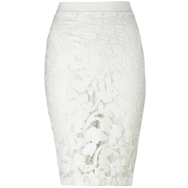 Michelle Keegan Embroidered Applique Pencil Skirt ($61) ❤ liked on Polyvore featuring skirts, bottoms, saias, jupe, pencil skirt, white, knee length lace skirt, embroidered skirt, white pencil skirt and white lace skirt