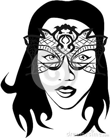 Vector drawing of a woman who wears a mask lace effect.