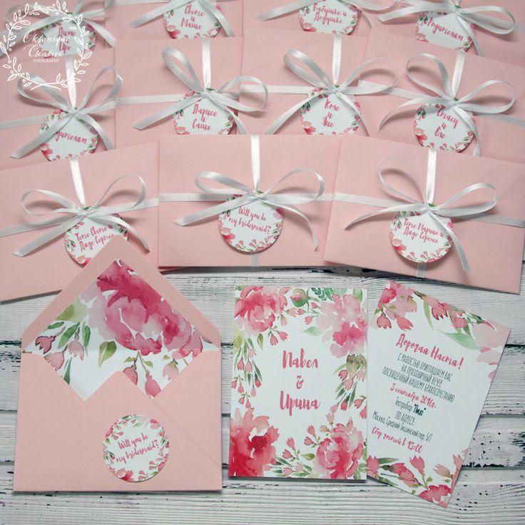 Приглашение в конверте, Розовые акварельные цветы, бледно-розовый, розовый, акварель, акварельные цветы, watercolor, pink, peony, invitation, wedding, stationery, приглашения, свадьба
