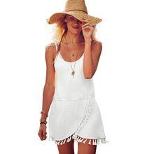 2016 Boho Del Vestido Del Verano Negro Blanco Frontal Irregular Flecos Hem Cami Tiras Vestido de Las Mujeres Ropa de Playa Playa del…