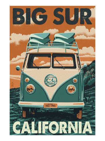big sur california poster bus | Big Sur, California - VW Van Blockprint Art by Lantern Press at ...