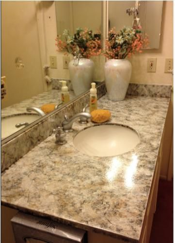 Resurfaced The Bathroom Countertop! Took Three Days To Complete. Check It  Out! Cost · Bathroom CountertopsGranite Overlay ...