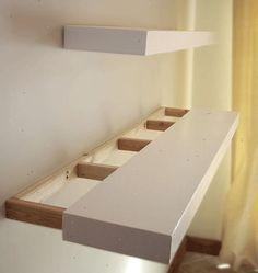 Afbeeldingsresultaat voor zwevende boekenplank steigerhout