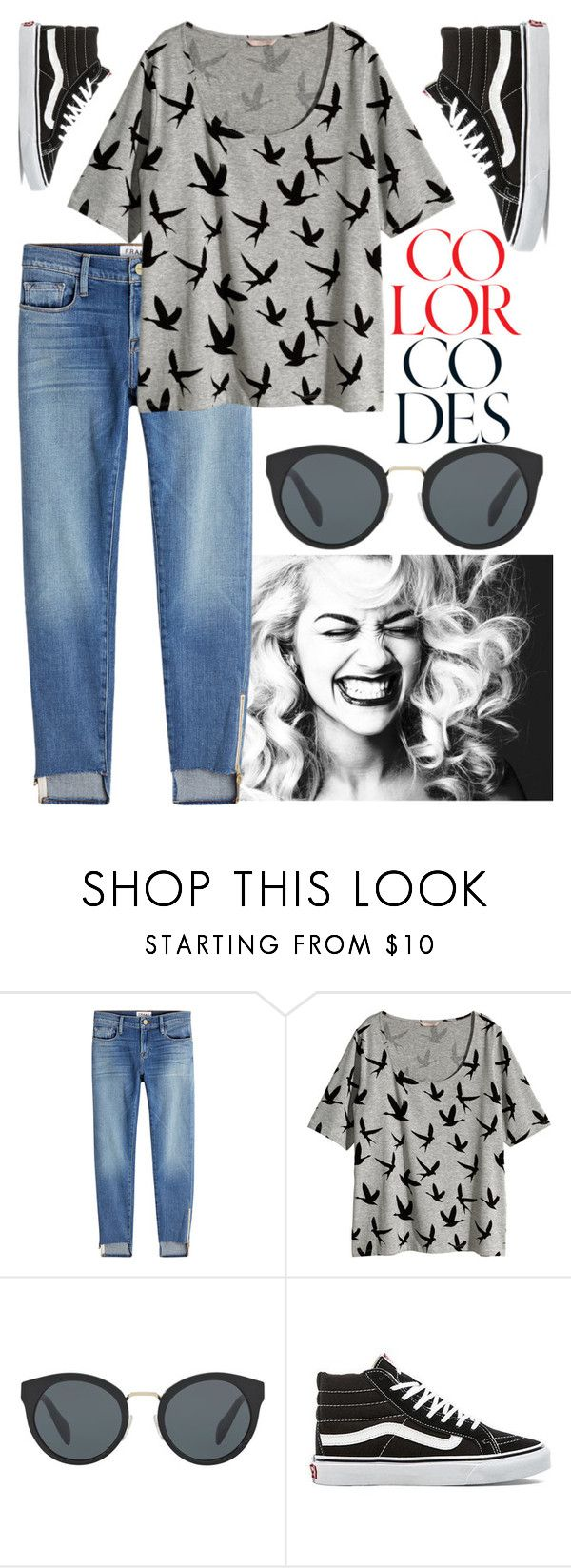 """""""Fly Away"""" by waves-to-the-shore ❤ liked on Polyvore featuring Frame, H&M, Prada, Vans, vans, blackandwhite, boyfriendjeans and sunnies"""