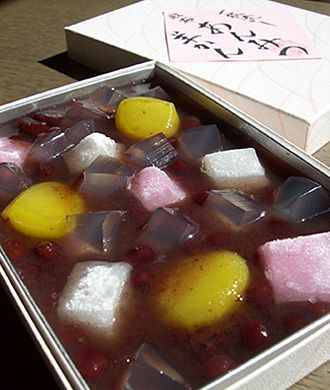 Japanwse Sweet ,Anmitu yo-kan, 麻布 昇月堂 一枚流しあんみつ羊かん