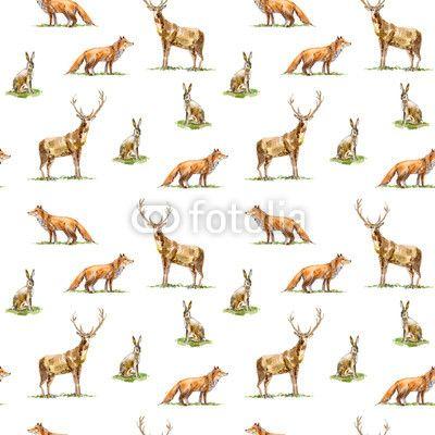 Materiał do szycia Seamless pattern of a deer, hare and fox.Forest animals.Watercolor hand drawn illustration.White background.. Zobacz materiały do szycia drukowane na zamówienie autora jula_lily. Zamów bawełniany materiał do szycia z wzorem w płowej, lis, królik, zając, bezszwowe, wzór, zwierzę, tło, natura, projektować, las, dzikość, ilustracja, królik, łosie, las, fauna, trawa, zoo, ssak, graficzny, rysunek, ręka, tapeta, drukuj, tekstura, istota, polowanie, rogi, sylwetka, rosja…