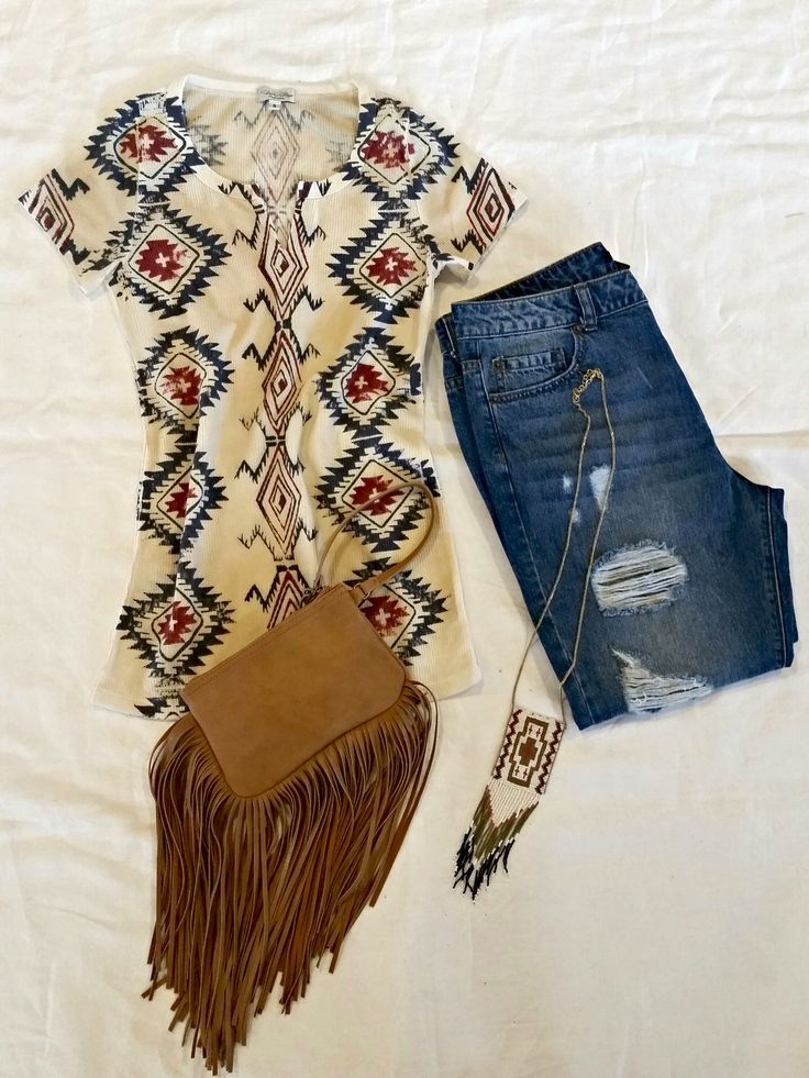 Tasha Polizzi Spring 2015 - Cowgirl style hippie boho western outfit fringe bag distressed ripped jeans tribal print shirt Get the look - Tasha Polizzi Blanket Tee http://www.tashapolizzi.com/item_detail.php?id=191