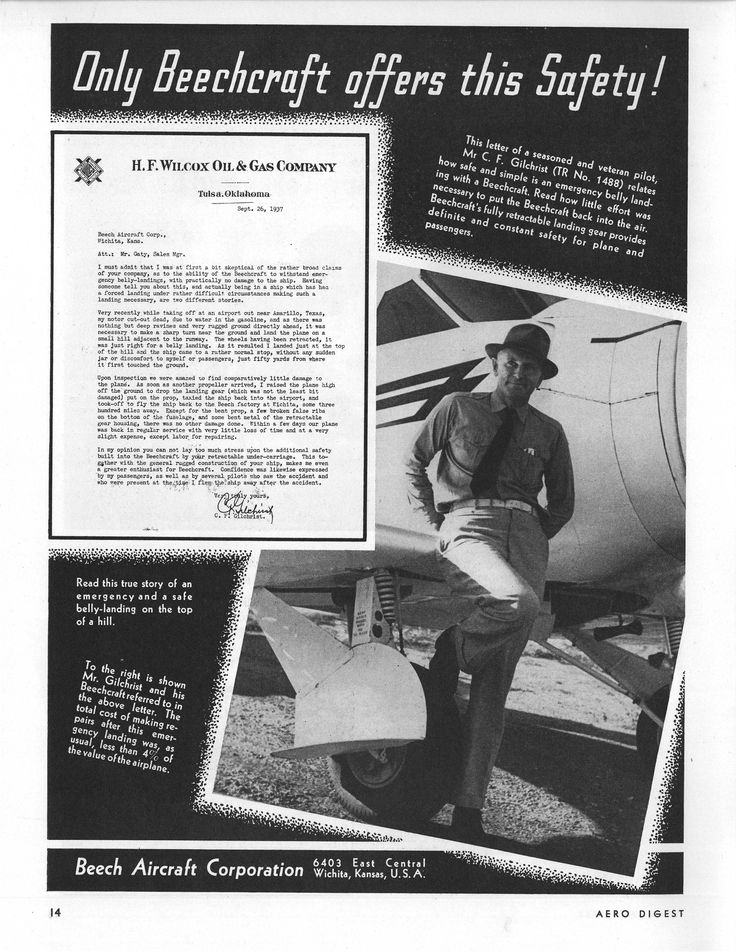 1937 Beechcraft ad featuring H. F. Wilcox Oil & Gas Company pilot C. F. 'Pop' Gilchrist with his favorite plane.