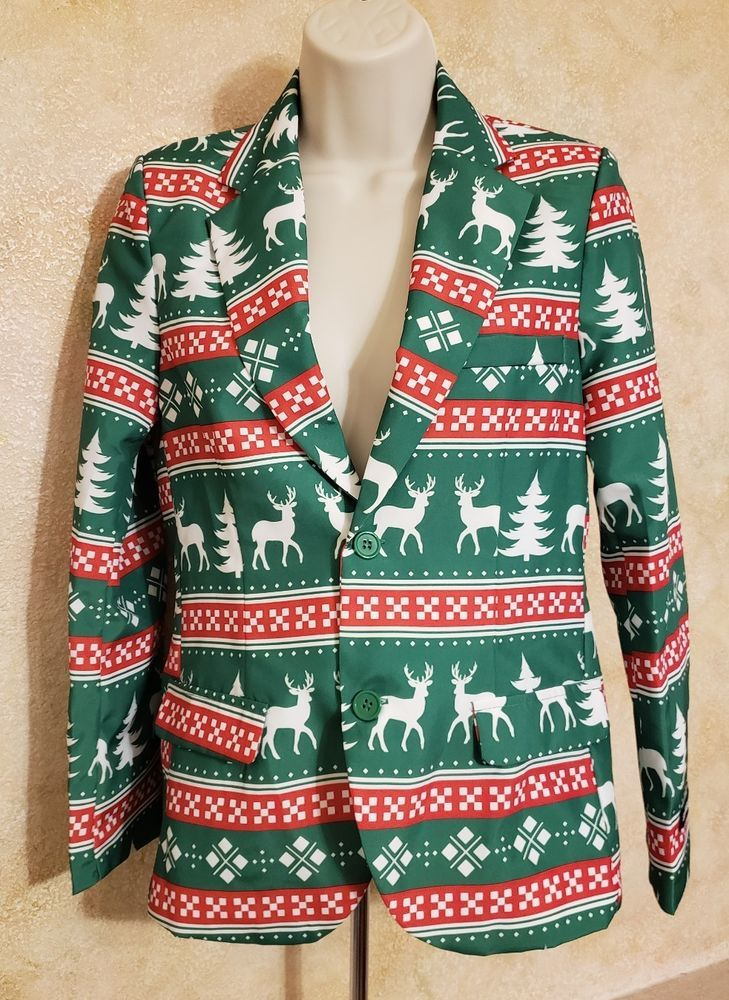 3a17bb23dd7 Womens Christmas Suit Jacket Suitmeister Green Blazer Reindeer Novelty -  Large  Suitmeister  SuitJacketBlazer