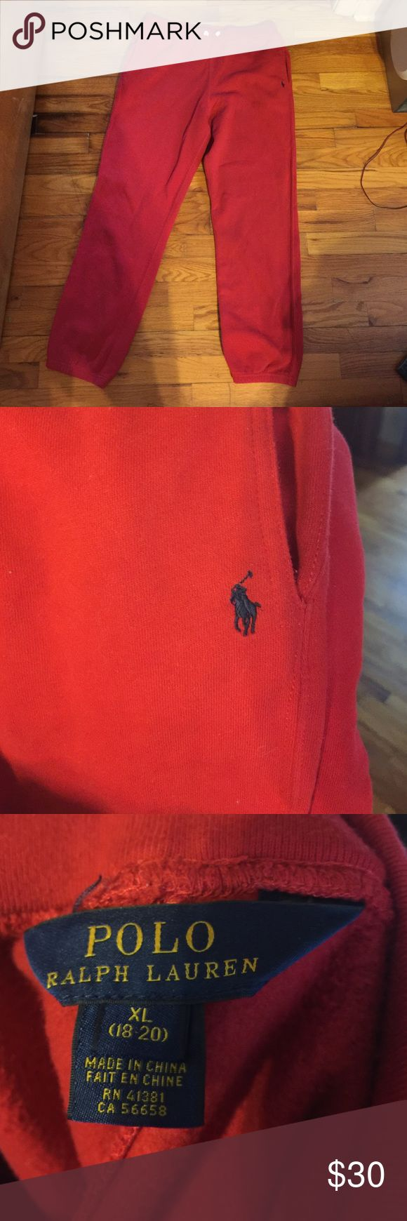 Polo sweatpants 😊 Ralph Lauren red sweatpants , teens 18-20, adult (woman) s-m ...worn once , washed once ...perfect for fall 🍃🍂 Polo by Ralph Lauren Pants Track Pants & Joggers