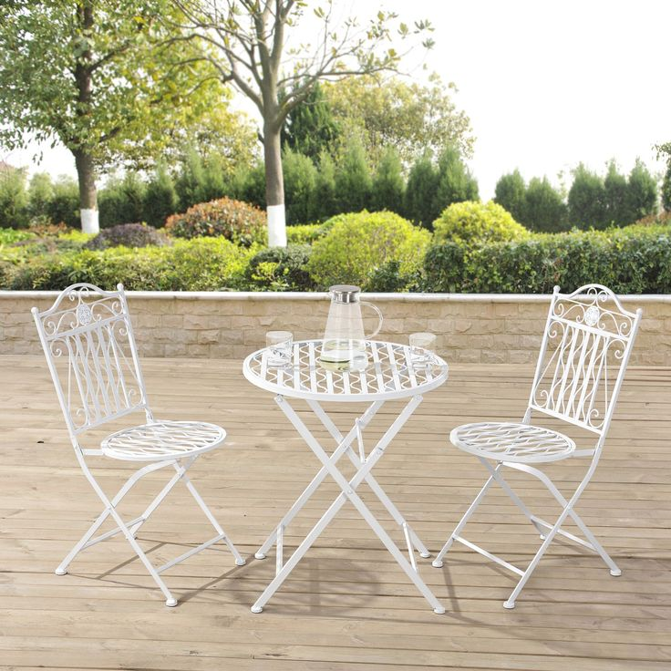 Perfect Details Zu [casa.pro]® Bistro Set Tisch 2 Stühle Essgruppe Sitzgruppe Gartenmöbel  Metall
