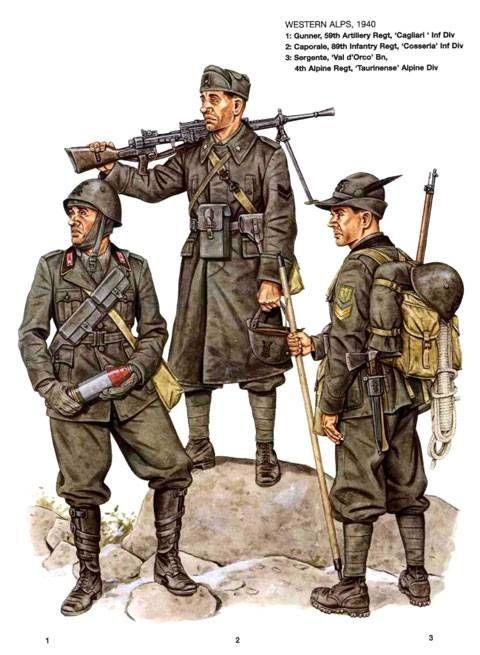 """Regio Esercito, Alpi occidentali, 1940 - 1 Mitragliere, 59° Rgmt Artiglieria, Divisione """"Cagliari"""" - Caporale, 89° Rgmt, Divisione di Fanteria """"Cosseria"""" - 3 Sergente, Battaglione """"Val d'Orco"""", 4° Rgmt Alpino, Divisione Alpina """"Taurinense"""""""