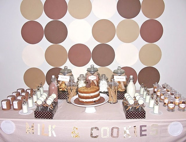 tan: Cookies Bar, Cookies Parties, Polka Dots, Birthday Parties, 1St Birthday, Milk And Cookies, Parties Ideas, Milk Parties, Desserts Tables