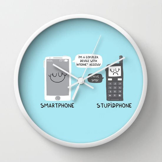 Smartphone versus Stupidphone Wall Clock