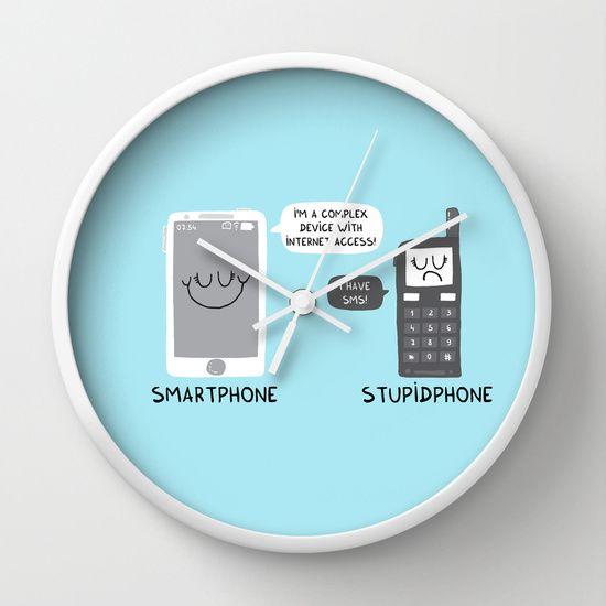 Smartphone versus Stupidphone Wall Clock