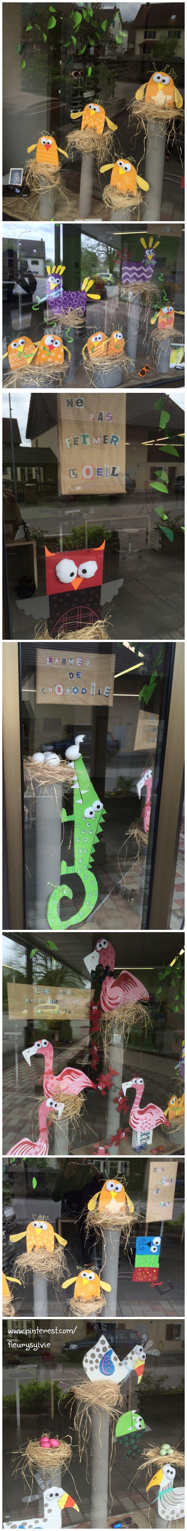 Décoration vitrines magasin d'optique printemps. En carton recyclé. Inspiration Buttuglee. http://pinterest.com/fleurysylvie/mes-creas-deriendutout/  et www.toutpetitrien.ch
