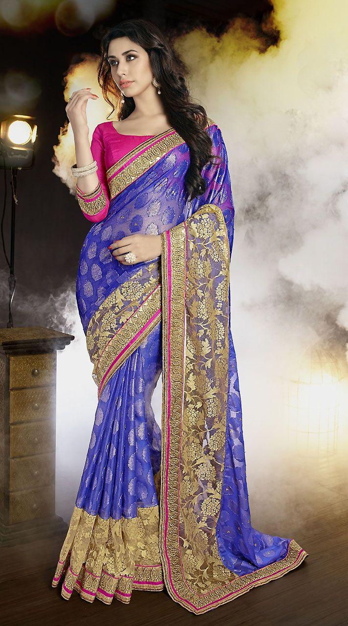Lovely Banarasi Shimmer Purple Beautiful Saree With Blouse