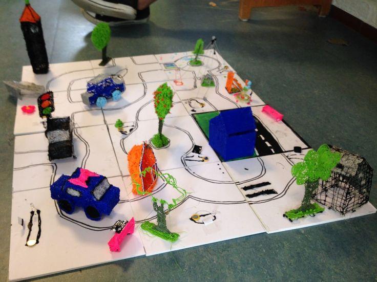 Maakonderwijs: workshops maak je eigen stad met 3D printer pennen en stroomgeleidende verf. #maakonderwijs #kunsteducatie