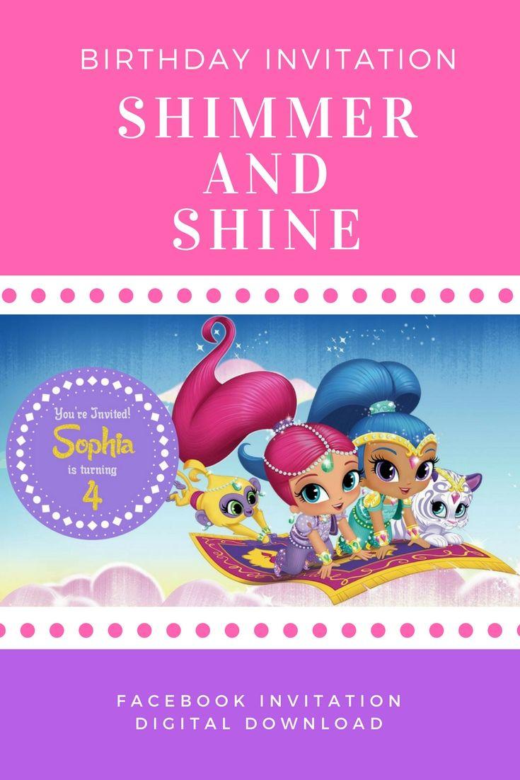 Shimmer And Shine Birthday Invitation Facebook Invitation Facebook