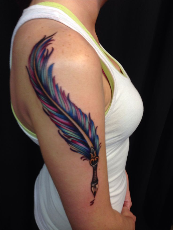 Feather quill pen tattoo. Done at Self Inflicted Studios, St. Louis
