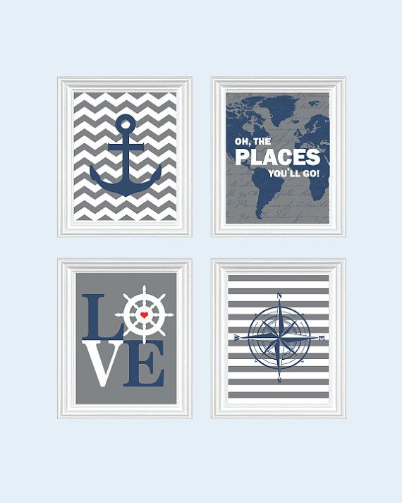 Nautical Nursery art - Baby Boy Nursery Art Chevron Elephant Nursery Prints, Boy Nautical Nursery, Childrens decor. Inspirational Quotes