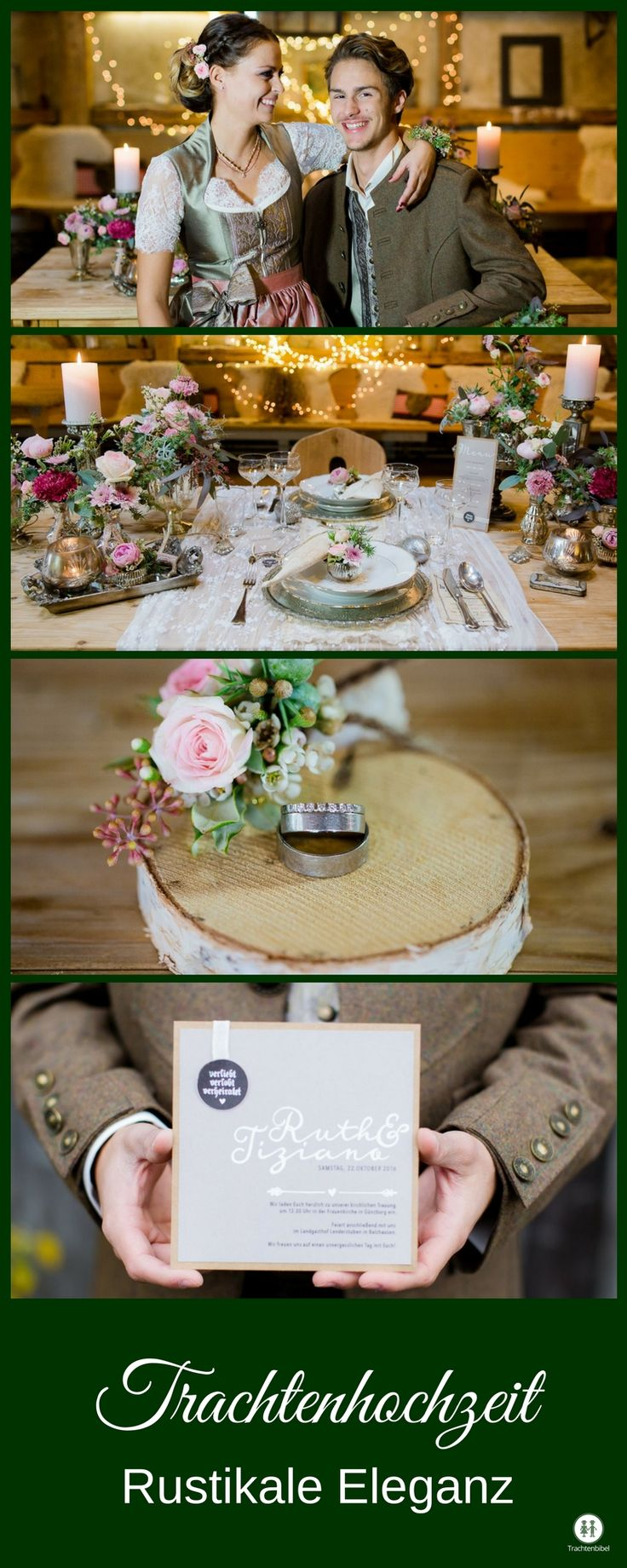 Inspirationen für die Hochzeit in Tracht. Heiraten im Dirndl ist in! Hier gibt es Tischdeko in Rosa und Grün, Menükarten und vieles mehr zum Ansehen.