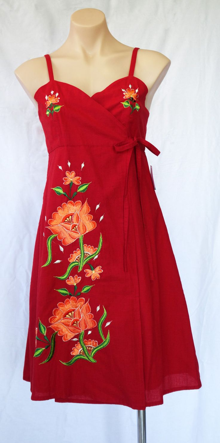 Authentic Mexican Dress   Cross Over Front Adjustable Floral Embroidery by MexicanitaBoutique on Etsy