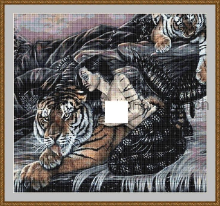 Mystical tiger and mermaid cross stitch pattern - MATURE CONTENT by UnconventionalX on Etsy