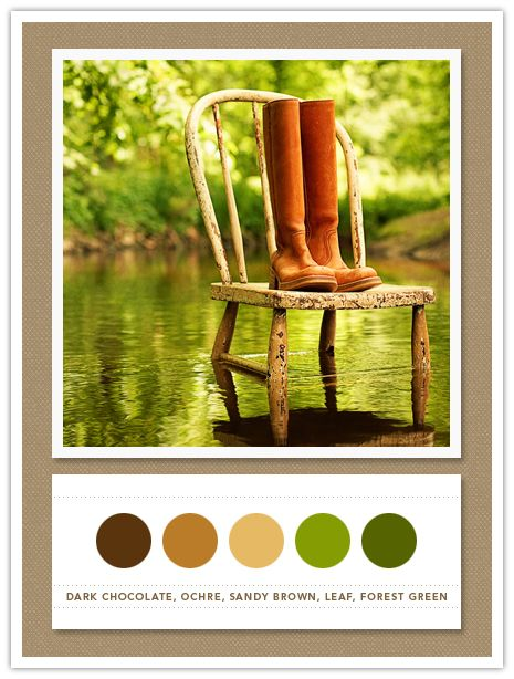 Color Card 078 Dark Chocolate Ochre Sandy Brown Leaf Forest Green Living RoomsLiving Room