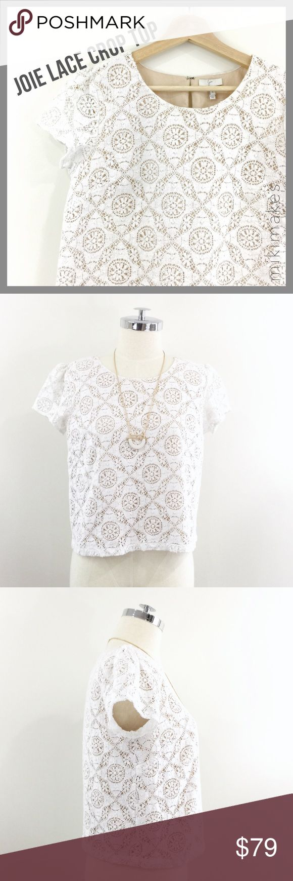 "JOIE • cream lace crop top cap sleeve • cute and simple boxy cream lace top from Joie • cap sleeve (not lined) • bodice is fully lined in nude cotton • round neck • falls around the waist  100% cotton Hand wash only  ✂️  Bust = 37"" ✂️  Waist = 14"" ✂️  Length = 20""  • sorry no trades • please feel free to ask any questions  ❤️,  @mikimakes  053017.8.79 Joie Tops Blouses"