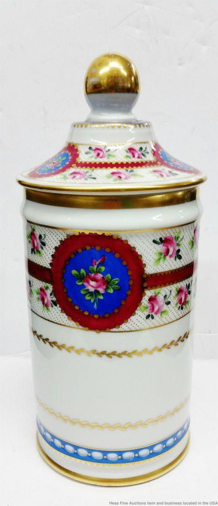 Le Tallec Paris Floral Porcelain Limoges Hand Painted 8in Vintage Toilette Jar  #LeTallec
