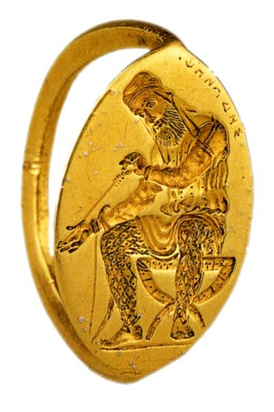 The ring with the image of a sitting Persian. Necropolis Panticapaeum. The end of the 5th century BC. Hermitage Museum in St Petersburg, Russia.