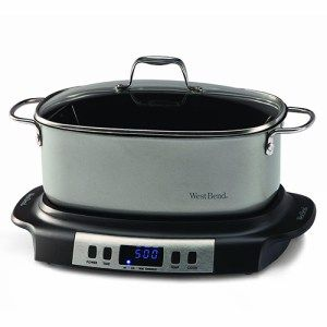 West Bend Oval-Shaped Programmable Slow Cooker:  This slow cooker features a unique oval design that makes it perfect for cooking all kinds of odd meat cuts. For instance, you can slow-cook a rack of lamb quite easily without the need for too much manipulation. Moreover, this cooking appliance also comes with griddle settings in addition to the standard warm/low/high modes.