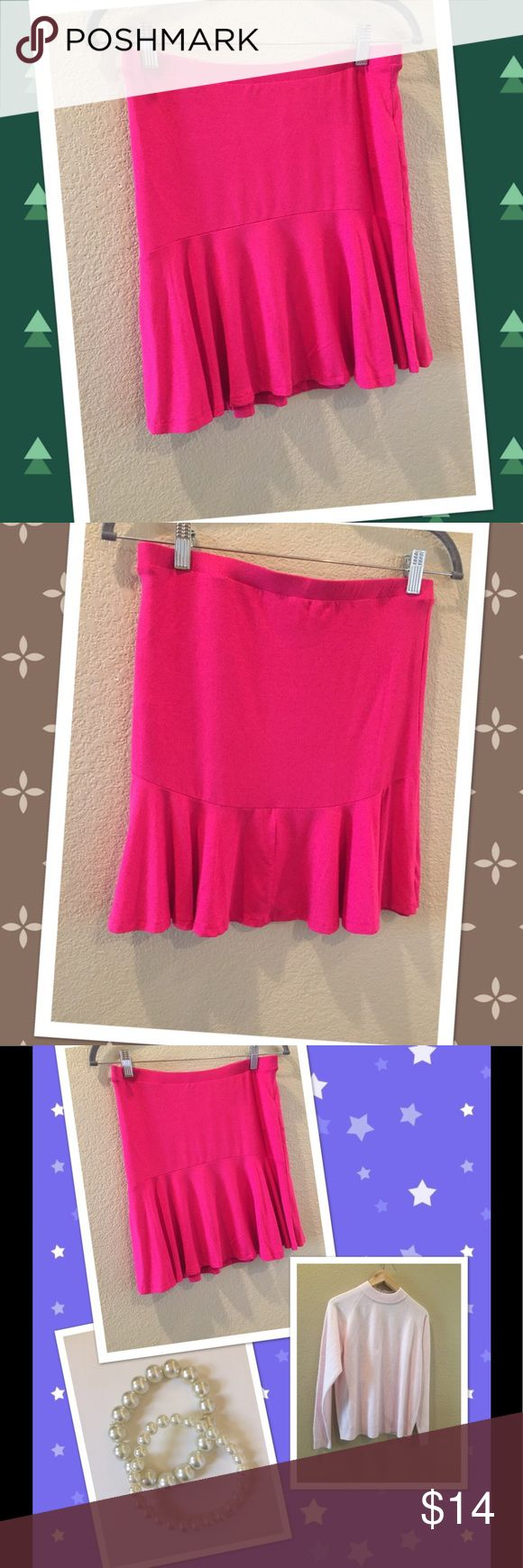"💙STRADIVARIUS Hot Pink Mini Skirt💙 A gift from England and sadly does not fit me. It is beautiful sexy cut and flew beautifully.  From waiste to bottom 17"" waiste seam to seam 14"".  Can fit S-M.  ❣️ I am open to all offers BUNDLE & send me your offer😍 stradivarius Skirts Mini"